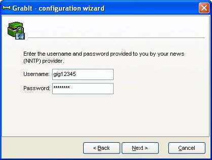GrabIt - Configuration Wizard: logon info