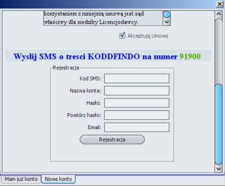 Okno rejestracji programu xp2p